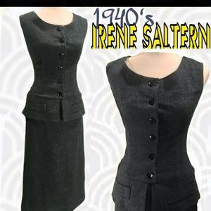 RARE!! IRENE SALTERN gray wool dress
